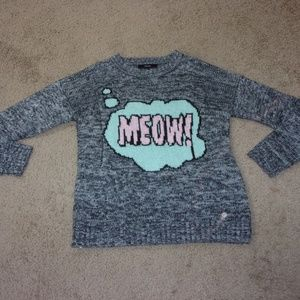 Forever 21 MEOW Bubble Sweater Gray L